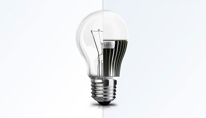 An image of a led and a conventional light bulb combined into one bulb
