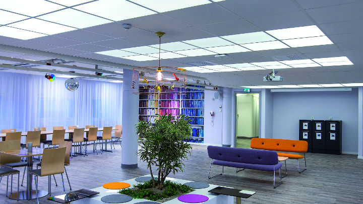 An improved atmosphere in the meeting area at E.ON office, Sweeden, illuminated with soundlight comfort lighting by Philips