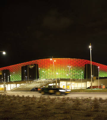 Color changing façade at Friends Arena, Sweden