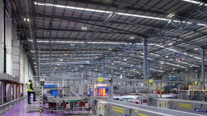 Warehouse of Royal Mail NDC illuminated by Philips Lighting industry systems