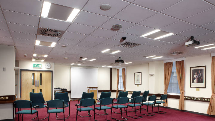 Conference room of Sedgemoor District Council lit by coreline recessed lights of Philips Lighting
